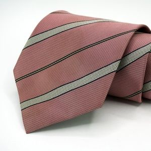 "Hugo Boss 100% Silk Neck Tie 3.5"" W Pink Striped"